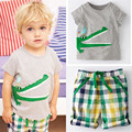 Cartoon Crocodile Print Baby Kids Boys Clothes Set 2016 New Arrival Fashion Hot Sale T-shirt and Striped Pants Summer Wear