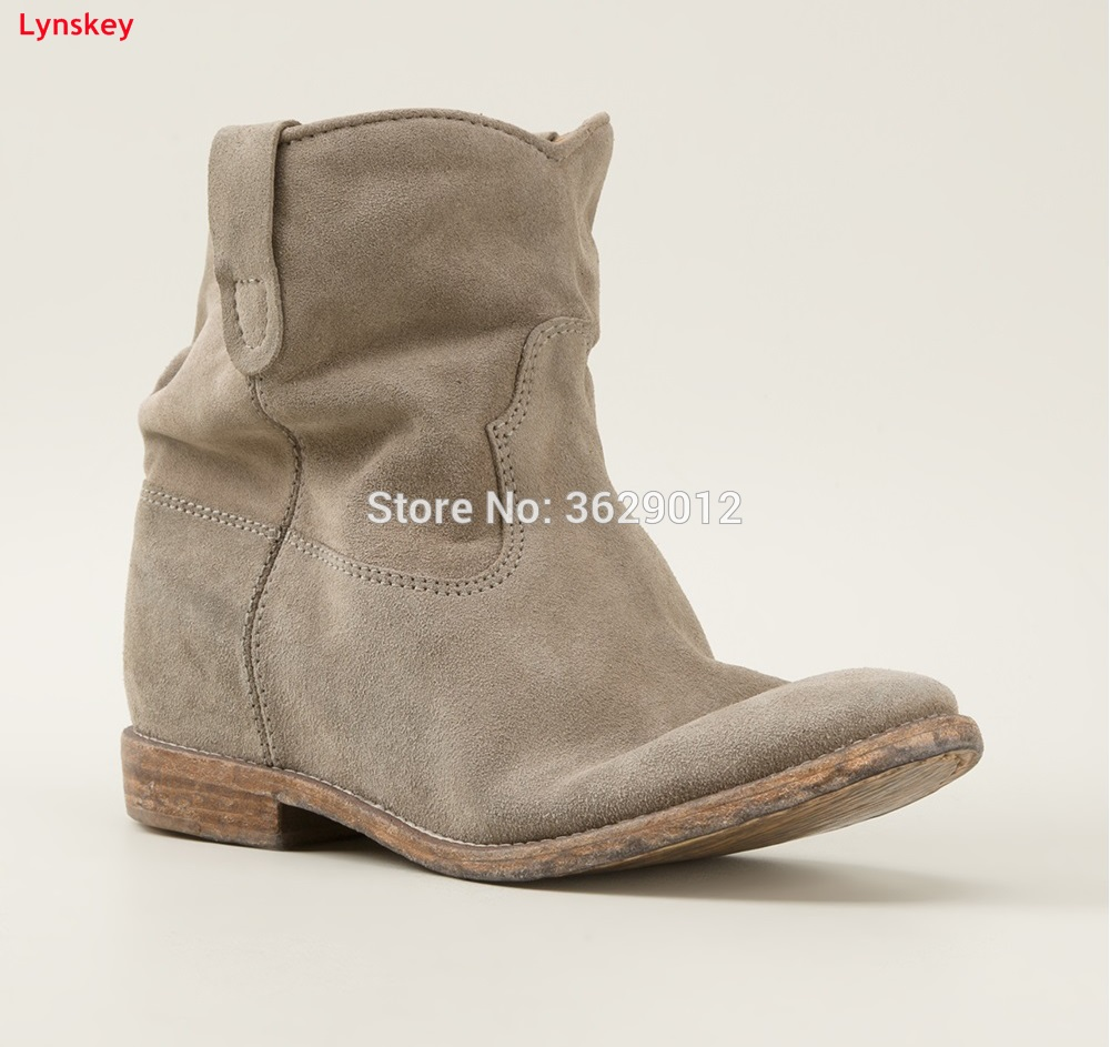 Lynskey New Fashion Round Toe Wedges Ladies Height Increasing Ankle Boots Suede Leather Hidden Heel Shoes Botas Mujer front lace up casual ankle boots autumn vintage brown new booties flat genuine leather suede shoes round toe fall female fashion