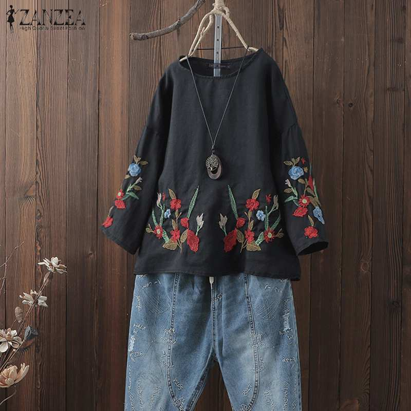 ZANZEA 2019 Fashion Blouse Women Floral Embroidery Shirts Blusas Casual Loose Tunic Tops Blusa Feminina Chemise Femme Plus Size