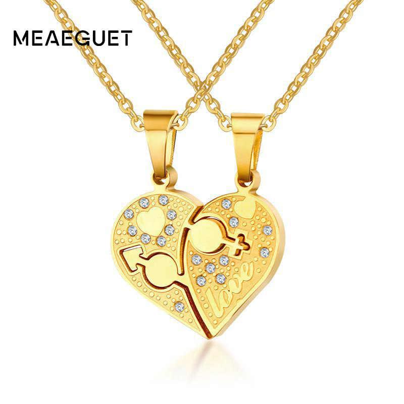 c3659f645 Meaeguet hombre mujer símbolo corazón COLLAR COLGANTE plata Color oro par  amor para siempre