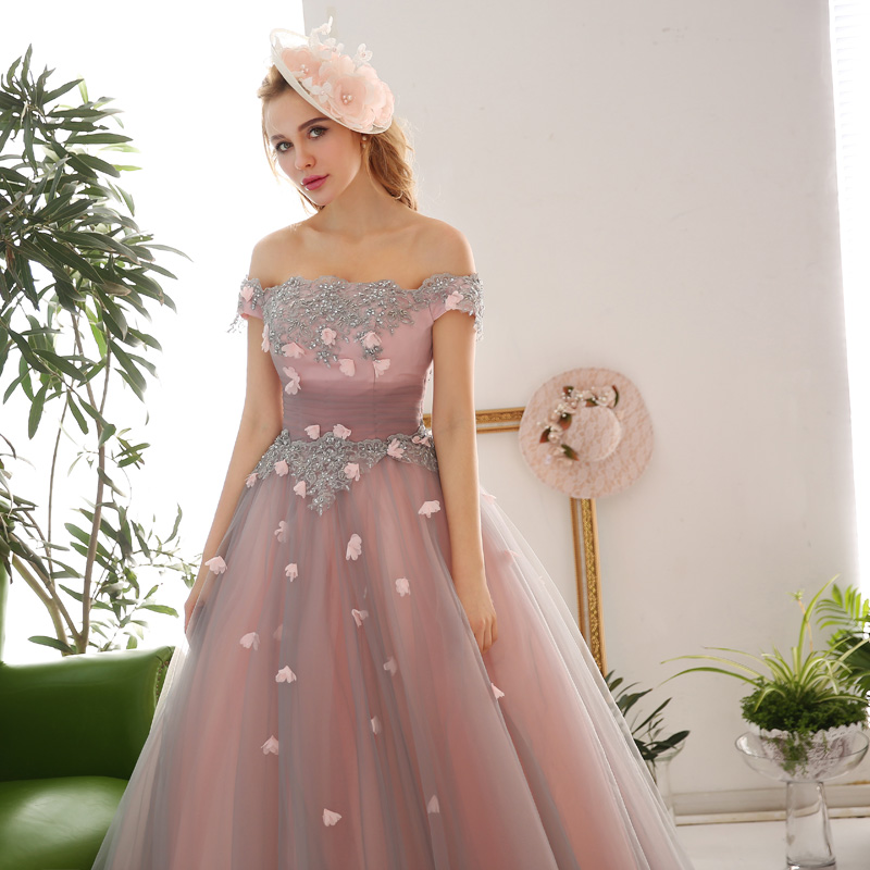 2017 Applique Beading Flowers Off the Shoulder Puffy Prom Dresses Long  Corset Cosplay Stage Dress Women Party Gowns-in Prom Dresses from Weddings    Events ... e0ec62604895
