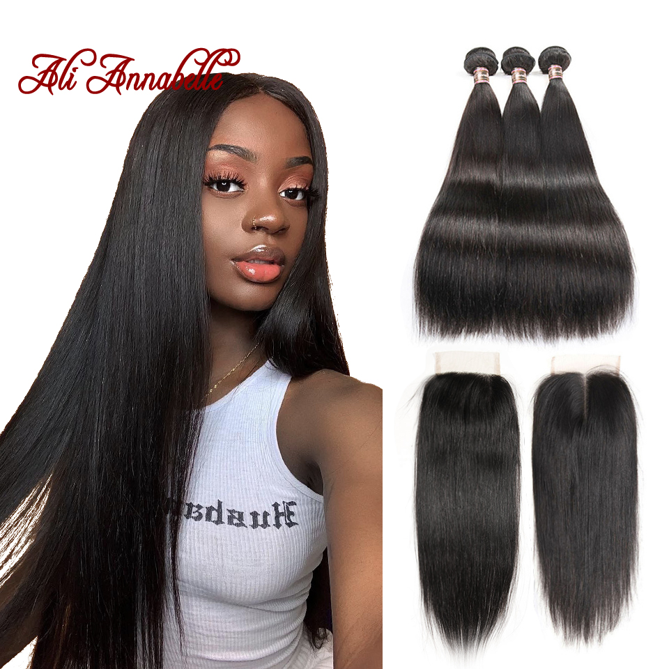 ALI ANNABELLE HAIR Peruvian Straight Human Hair 3 Bundles with Lace Closure Remy Hair Bundles With