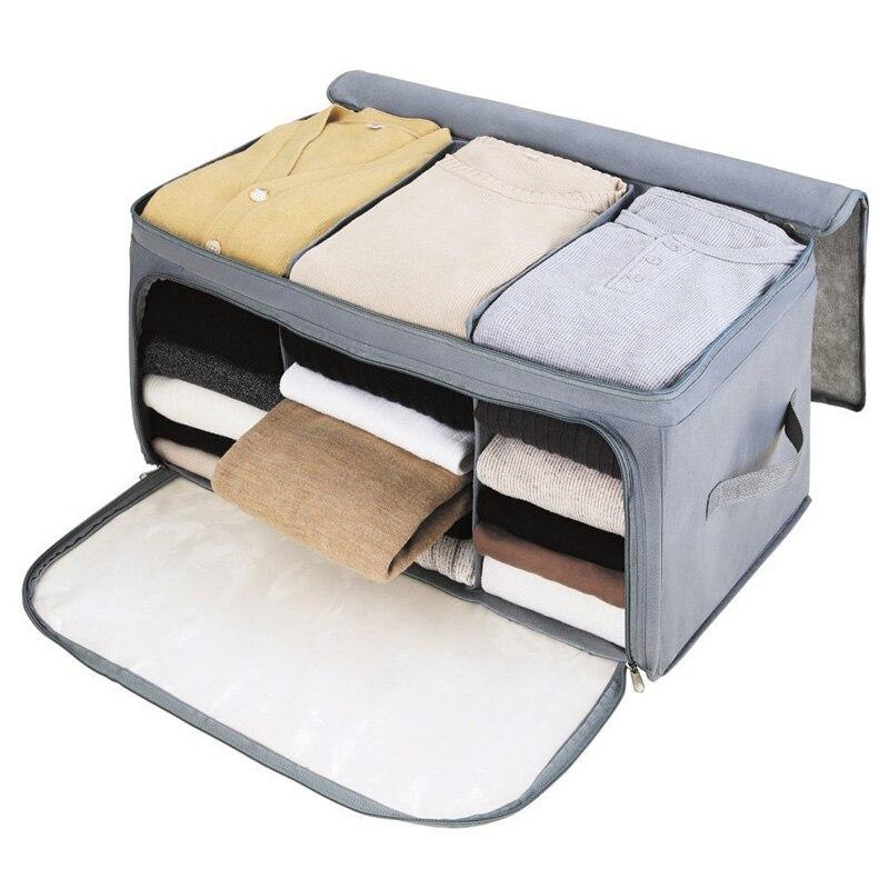 Anti-mofo Dobrável Saco De Armazenamento Organizadores Claras Janela Visível Pegas Roupas Cobertores Zippe organizador saco de armazenamento