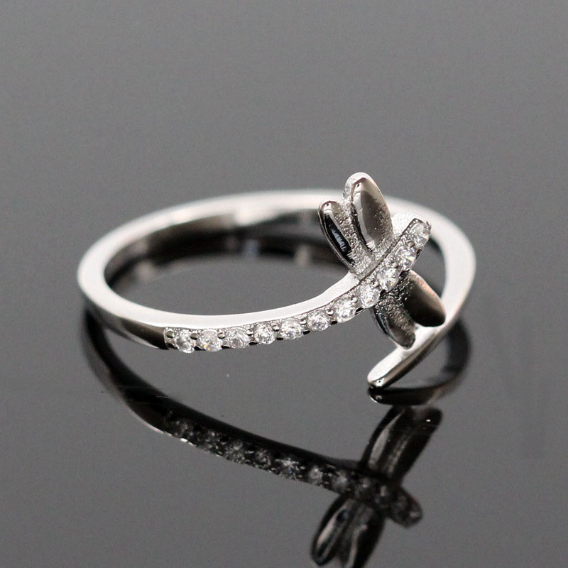 Zircon dragonfly engagement wedding rings for women anillos s925 sterling silver opening cz diamond ring jewelry
