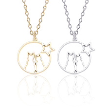 DIY Necklace Fashion Openwork Animal Cat Star Pendant Personality Gold Silver Men and women Metal Jewelry Gift