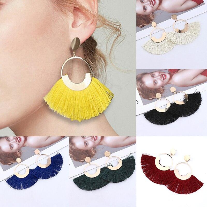 Bohemian Big Tassel Drop Earrings For Women Handmade Female Fringe Dangle Statement Fashion Lady Earring 1pair 2019 Jewelry Hot