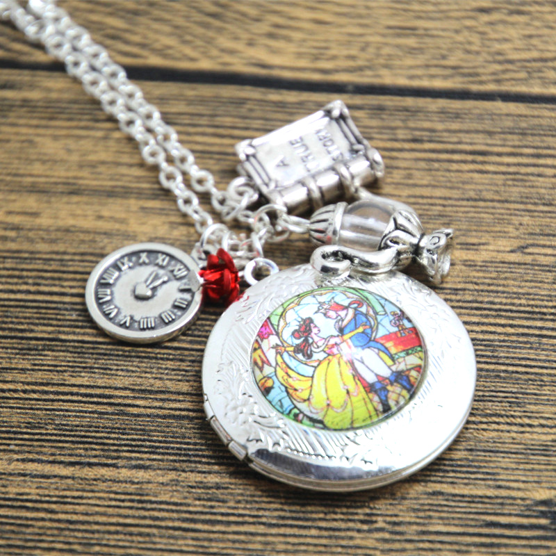 12pcs/lot Beauty and the Beast Stained Glass Locket Necklace book clock red flower charm necklace silver tone