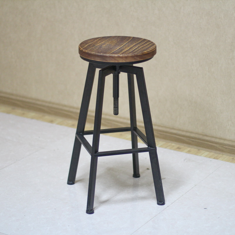 Aliexpress Buy American country retro home bar stool bar stool wood bar wrought iron lift rotating chair leisure chair bar chairs from Reliable chair