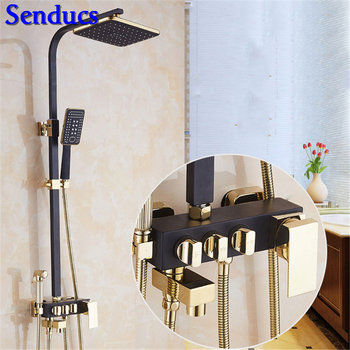 Senducs Black Gold Shower Set of Square Lifting Shower Faucet with Quality Brass Bathroom Shower System Rainfall Gold Shower Set