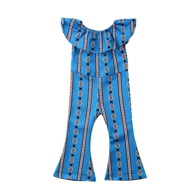 Newborn Toddled Kids Baby Girl Romper Ruffled Off Shoulder Floral Casual Jumpsuits Blue Outfit Clothes Summer 1-6T