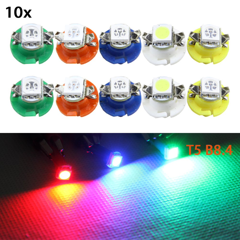 10pcs/lot T5 B8.4D 5050 1 SMD LED Blue Side Dashboard Guage Light For Car B8.4 Auto Instrument Panel Lights White Blue Yellow