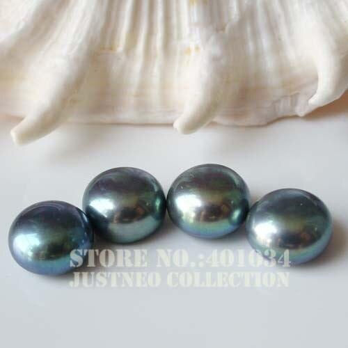 7-8mm Azul Pavo Real Negro Arroz Ovalado Agua Dulce Perlas para la fabricación de joyas