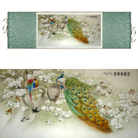 Traditional Chinese Silk Watercolor Ink Animals Bird Peacock Phoenix Art Canvas Wall Damask Picture Framed Scroll