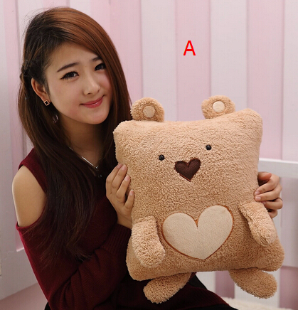 Cute couple dual pillow / Love Heart Teddy Bear Party oversized air conditioning blanket / coral fleece blanket car tb blk015 yellow 42 5by59 1 happy bear yellow embroidered applique coral fleece baby throw blanket