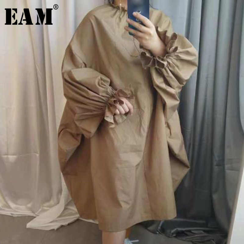 [EAM] 2019 Spring Summer Woman Stylish New Khaki Black Color Long Puff Sleeve Stand Collar Long Loose Big Size Dress LG030
