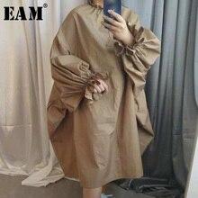 [EAM] LG030 春夏の女性のスタイリッシュな新カーキ黒色ロングパフスリーブスタンドカラーロングルーズビッグサイズドレス 2019