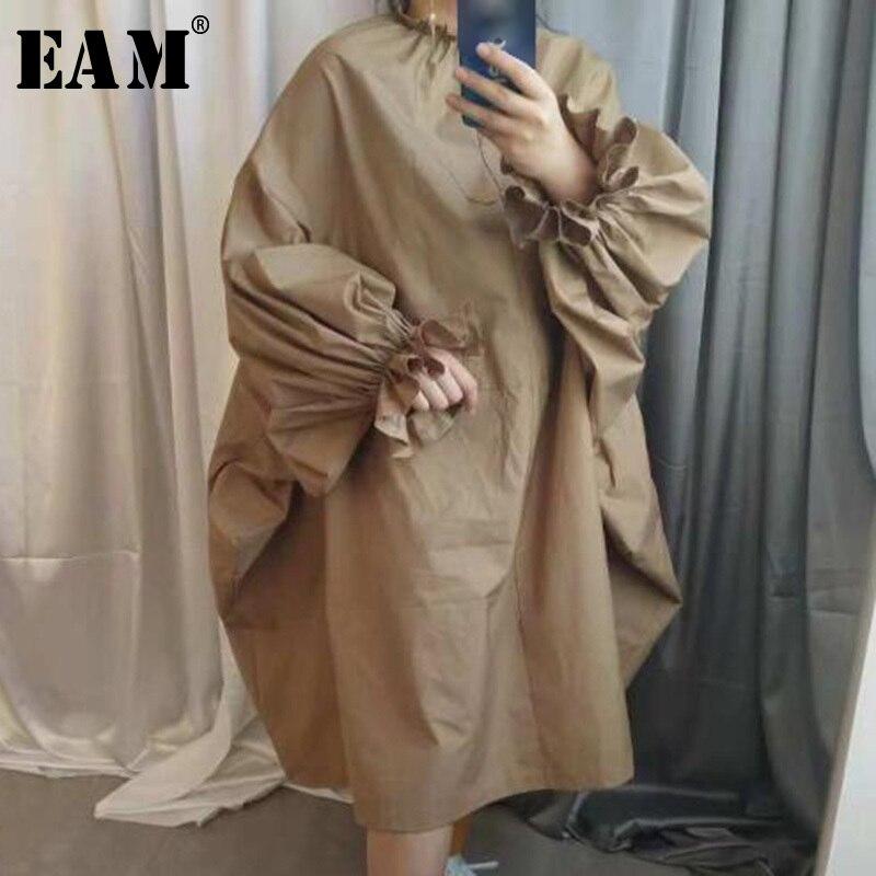 [EAM] 2019 printemps été femme élégant nouveau kaki noir couleur à manches longues bouffantes col montant longue lâche grande taille robe LG030