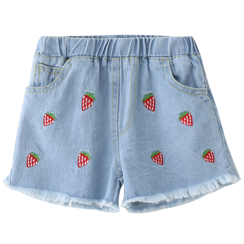 Girls Jeans Summer Stretch Strawberry Embroidered Shorts Childrens Summer Casual Shorts
