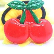 High quality Fruit series elastic hair bands cherry/pineapple charm ponytail holders kids girls girls headwear hair accessories