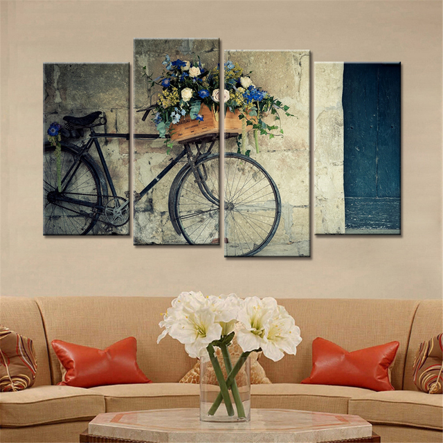 4 Pieces Home Decor Drop Shipping Wall Art Decorative Painting Bike Canvas Modular Pictures For Living Room No Frame