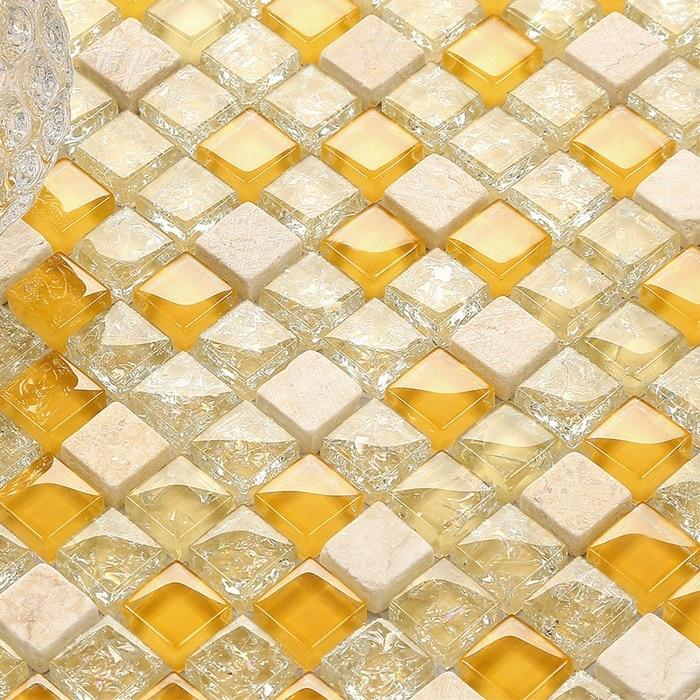 Orange Kitchen Backsplash Tile: Glossy Orange Glass Mixed Clearcrackle Glass & Beige Stone