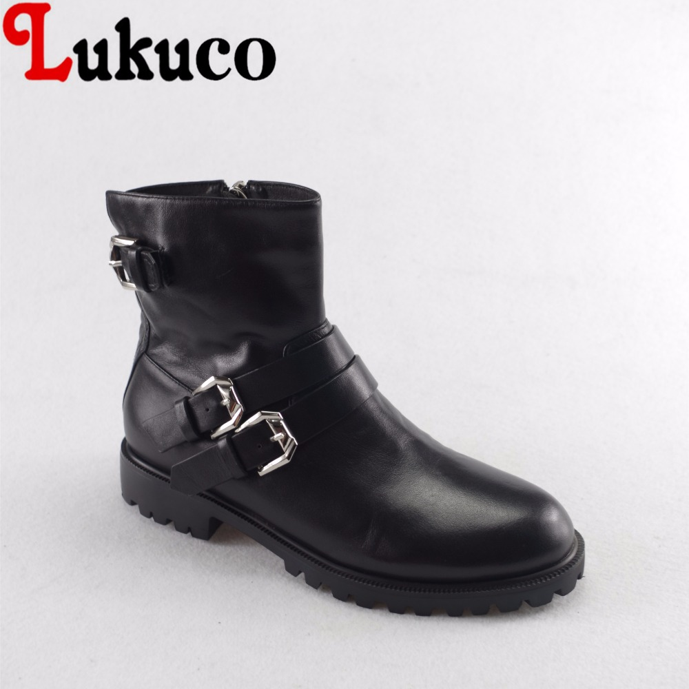 Lukuco pure color women mid-calf motorcycle boots microfiber made buckle and zip design shoe with pigskin inside