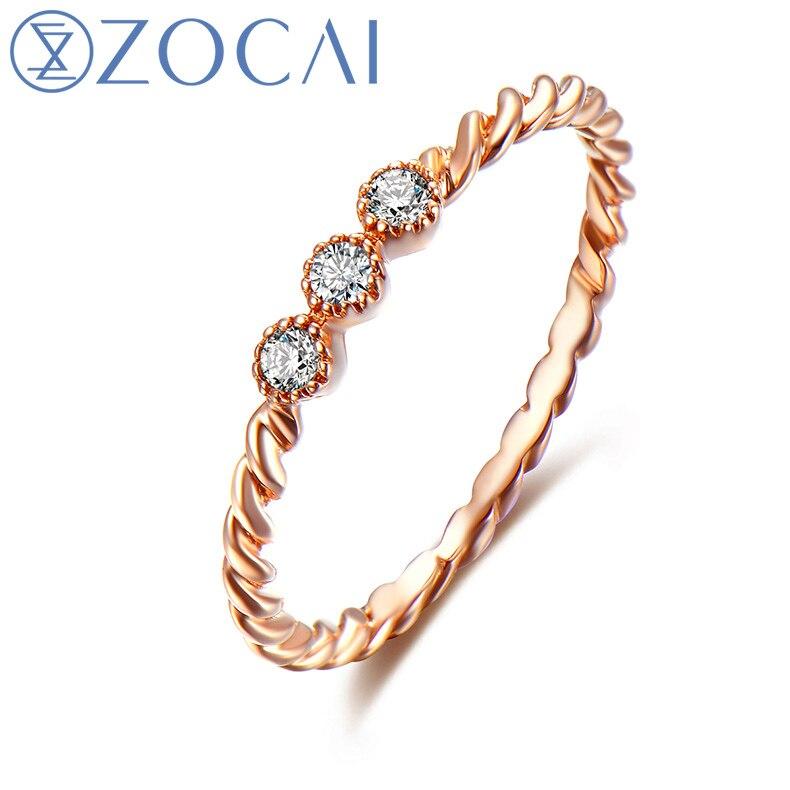 ZOCAI Natuurlijke 0.07 CT diamanten ring met echt 18K rosé goud - Fijne sieraden