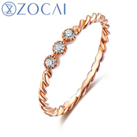 ZOCAI Natural 0.07 CT Diamond Ring with Real 18K Rose Gold (Au750) W06245