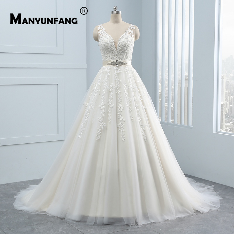 US $178.1 35% OFF|MANYUNFANG Detachable Sashes Champagne Wedding Dresses  with High Quality Ivory Lace Appliques A Line Bridal Plus Size Dress-in ...