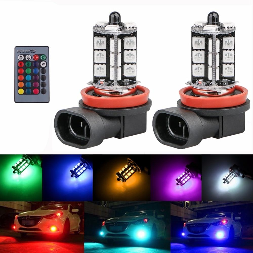 Indicator Lights High Quality 2pcs Multi-color Rgb Led Fog Lights Driving Light Bulbs Remote H8/h11 12v 27smd 5050 Agreeable To Taste Lights & Lighting