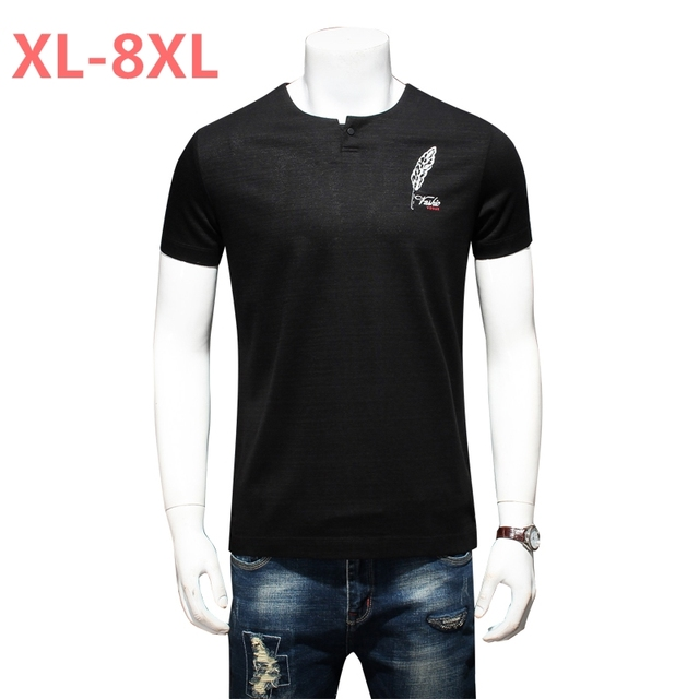 10XL 8xl 6xl Summer Mens Casual T Shirts Black Flower Print Brand Clothing For Man's Short Sleeve Loose T-Shirts Male Tops Tee