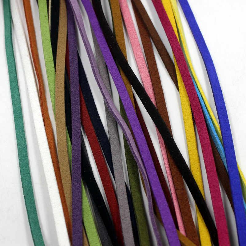 20 ярдов 3 мм плоская Искусственная Замша корейский бархат кожа шнур веревка кружевная нить для DIY браслет ожерелье ювилирные изделия фурнитура