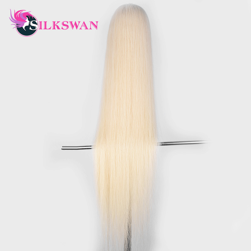 SilkSwan Full Lace Wig 613 Blonde Straight Virgin Hair Wigs for Pre Plucked With Baby Hair Transparent Lace 40 44 Inch HD Lace image
