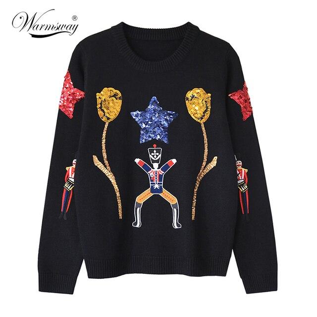Женщина Мода Черный вязать Свитера С Золотыми Блестками Тюльпаны Звезды Милые кукол Вышитые Трикотаж WS-139