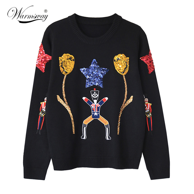 Woman Fashion Black knit Sweaters With Gold Sequins Tulips Stars Cute puppet Embroidered Knitwear  WS-139