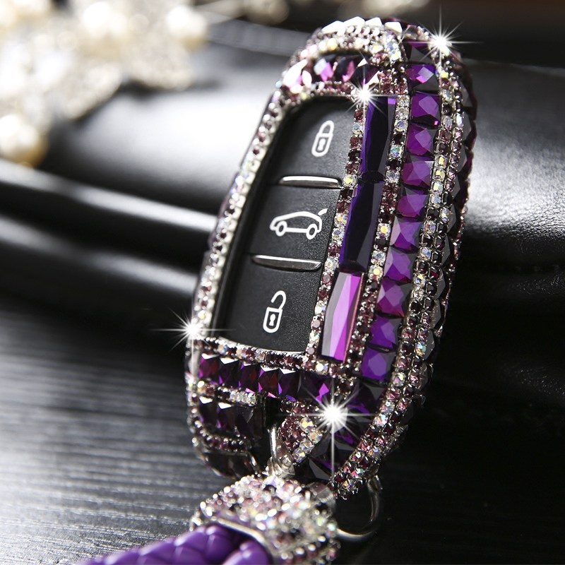 Luxury Diamond bling car key case cover/ key shell for Peugeot 2008 3008 4008 For Citroen C4 C5 Smart Key Accessories image