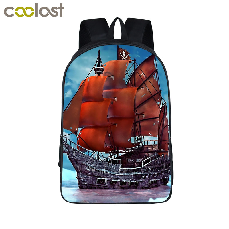 Young Men Travel Bag Boat On The Sea Backpack For Teenagers Boys School Bags Pirate Sailboat Backpacks Gift Mochila Escolar logo messi backpacks teenagers school bags backpack women laptop bag men barcelona travel bag mochila bolsas escolar