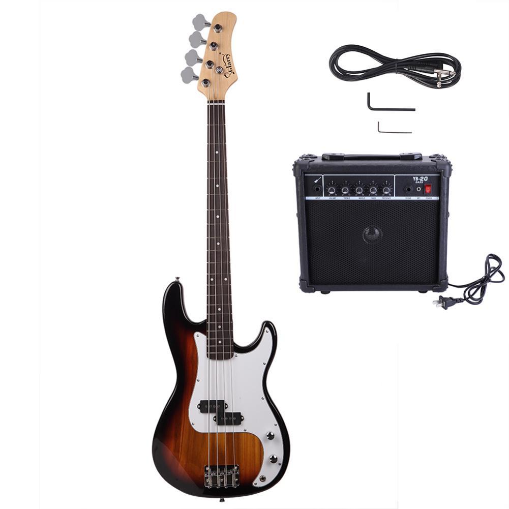 USA stock 4 cordes Basswood guitare basse électrique ensemble avec outil de clé à cordon acoustique