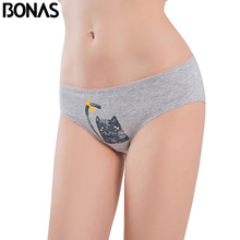 BONAS Low Rise Cotton Women's Briefs Cat Printing Style Female Seamless Sexy Underwear Elasticity Spandex Pink Panties Plus Size
