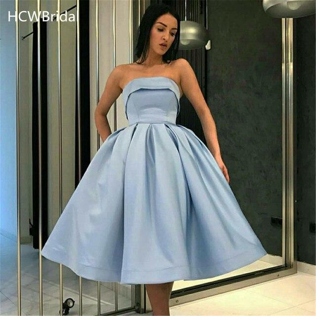 Mint Blauw Strapless Sexy Prom Jurken Knie Lengte EEN Lijn Hoge Kwaliteit Satijn Puffy Party Dress 2019 Korte Avondjurken goedkope