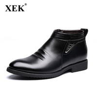 XEK Men's Boots Winter Short Plush Keep Warm Business Casual Leather Chelsea Boots Solid Color Cotton Male Boots ZLL247