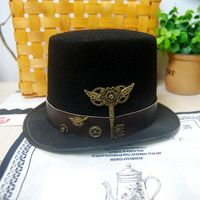 New Costume Steampunk Top Hat with Belt & Gears Key Accessories Handmade Trilby Hats Gothic