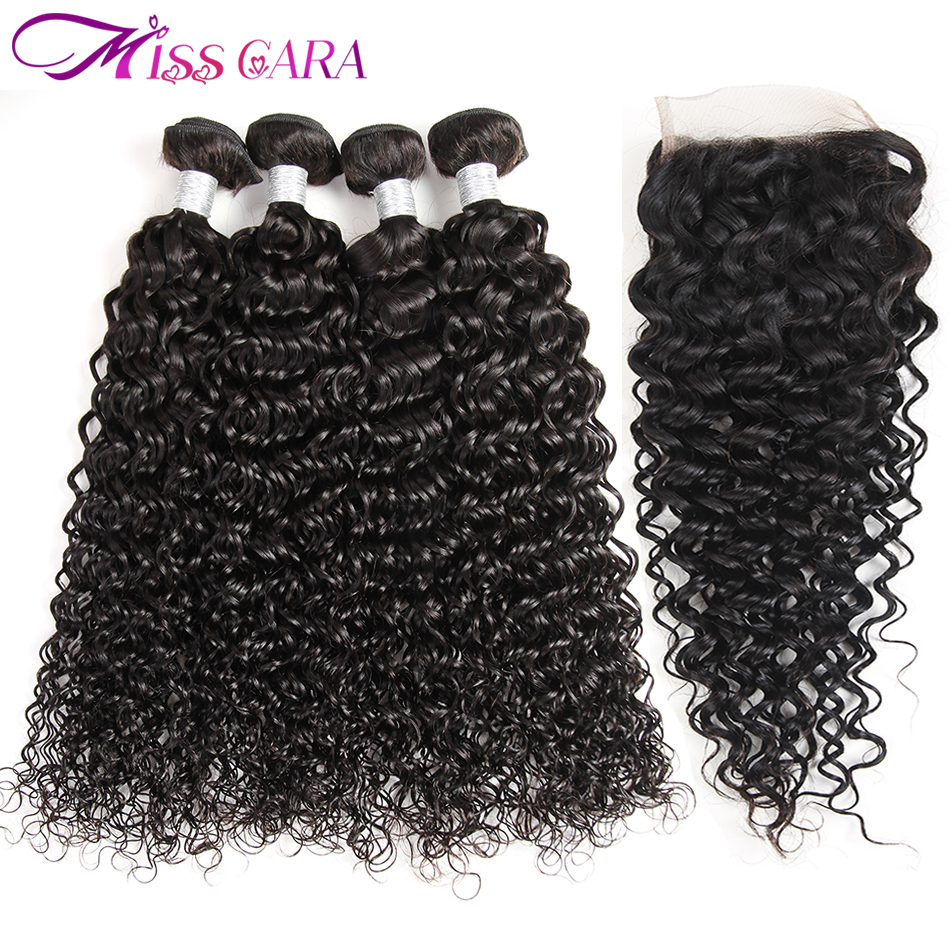 Brazilian Hair Weaves Bundles Water Wave With Closure 100% Human Hair With Closure Miss Cara Remy Hair 3/4 Bundles With Closure