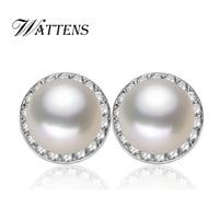 WATTENS Natural Pearl stud Earrings ,Cultured Freshwater Pearls ,Fashion 925 sterling silver Earrings for women