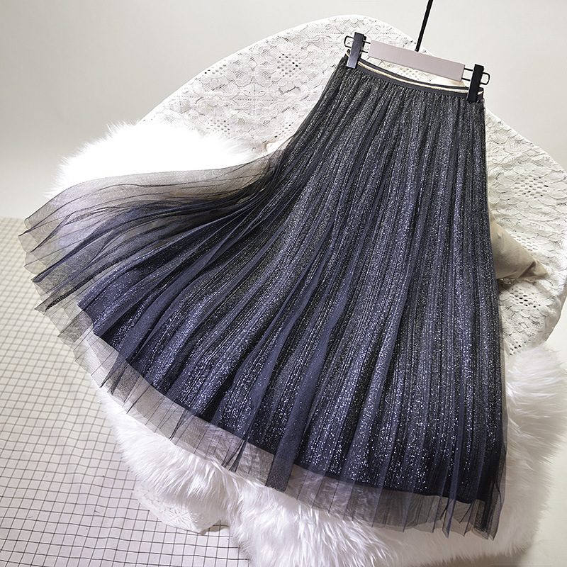 2018 Women Summer Pleated Skirts High Waist Two Layer Women Tulle Long Skirts Boho Mesh Skirt Jupe White Pink Skirt Saia Faldas