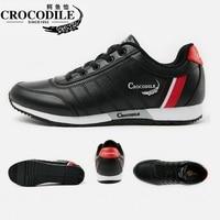 Крокодил новый Для мужчин кроссовки из кожи прогулочная обувь плоской подошве Althletic Спортивная обувь дышащая для Для мужчин досуг Running Sneaker