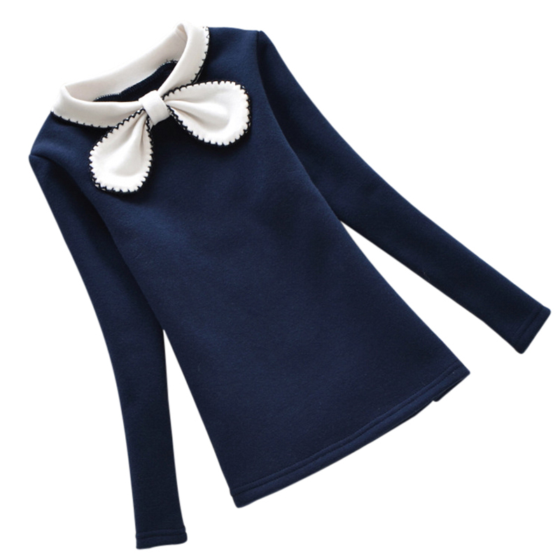 Nya 2-12Y Barn Vinter Hoodies Girls Warm Plus Velvet Sweatshirts Barn Bow Lace Sweater Barn Toppar Skjortor Kläder kostym