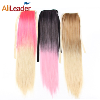 Alileader Pony Tail Hair Extensions 20 Inch Long Ponytail Ombre Blond Two Tone Fake Hair For Women 80GPcs Clip On Hair Pieces blond