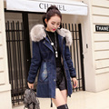Fashion Winter Jacket Women Casual Slim Denim Long Jaqueta Ladies Coat Jeans Full Sleeve Thick Denim Jacket