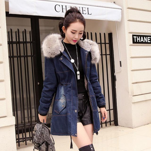 Mulheres Jaqueta de Inverno moda Casual Magro Denim Calça Jeans Casaco Jaqueta Senhoras Plena Manga Longa Jaqueta Jeans Grosso
